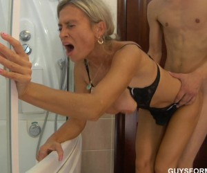 Busty Mature Mom Fucked Doggystyle in the Bath