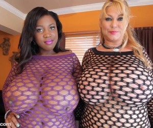 Samantha 38G and Maserati XXX Massive BBW Lesbian Boobs in Fishnets