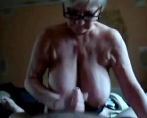 Slutty Granny with Saggy Big Tits Handjob and Cumshot