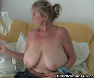 Huge Tits Granny Masturbating in Sheer Pantyhose