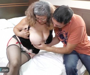 Huge Boobed Granny Fucked by a Young Stud