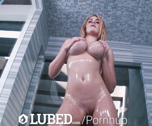 LUBED Perky Natural Teen Tits Fucked in the Shower