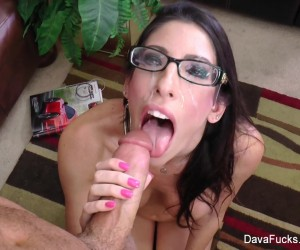 Dava Foxx Busty College Teen gets Cum on her Glasses