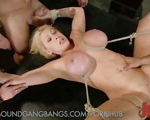 Blonde MILF with Roped Boobs in a Bondage Gangbang