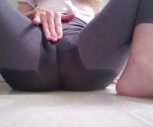 Big Tits Blonde Masturbating in Soaking Wet Spandex Leggings